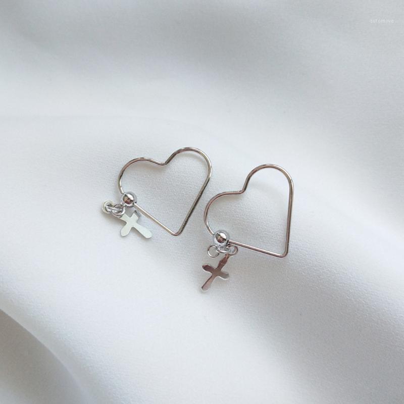 DAINTY 925 Sterling Silver Stelle Hollow Heart Cross Dangle Charm Orecchini Damigella d'onore Religiosa Dichiarazione cristiana Dichiarazione cristiana orecchini 1