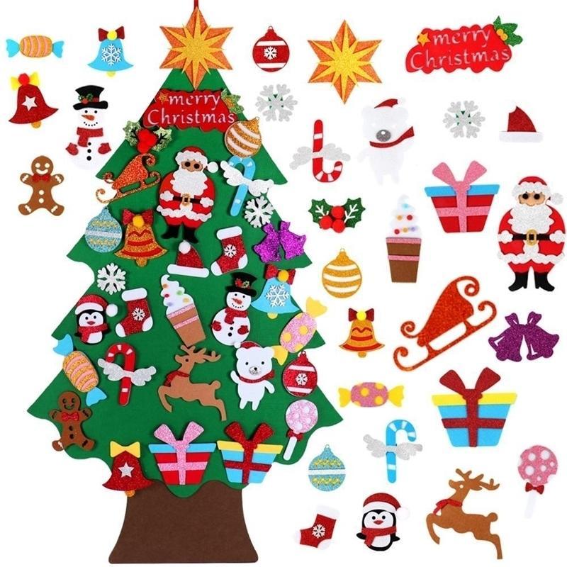 FENGRISE Noel Ağacı Keçe Santa Claus Merry Christmas Süslemeleri Ev Çocuk Oyuncakları için Noel Ağacı Süsleme Noel Ağacı 201030