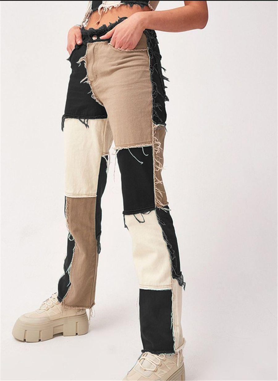 Gru bianco Adulto Gamba larga Jeans MensSegneer Graffiti Stampa Pantaloni da papà Trend Trend Pantaloni a tubo dritto Water Wath Pantaloni coreani # 122