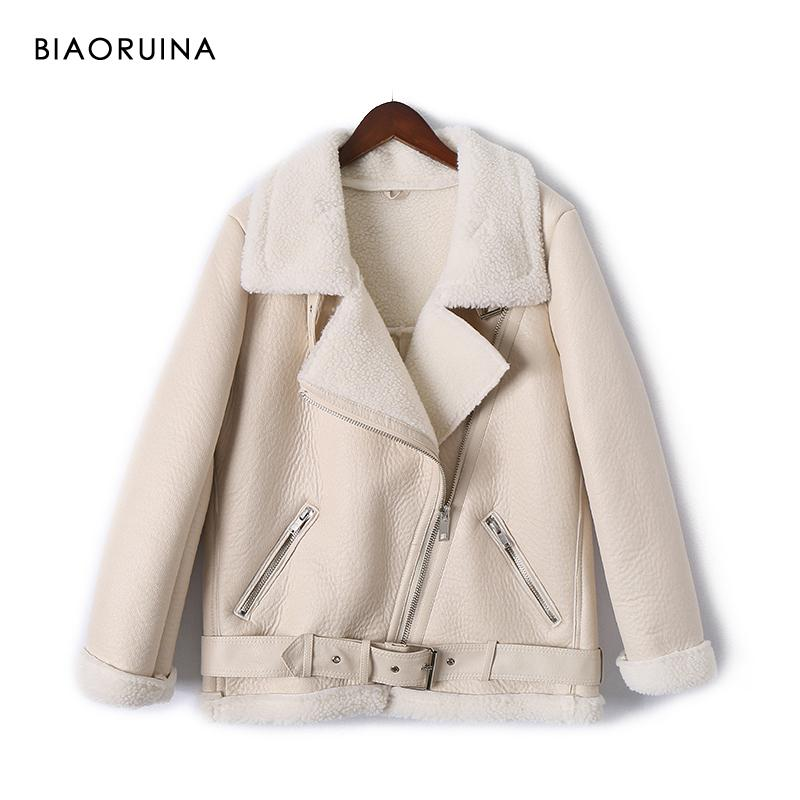 BIAORUINA Moto&Biker Style Women's Loose Faux Leather Patchwork Lamb Keep Warm Thick Jacket Coat Turn-down Collar with Belt 201016