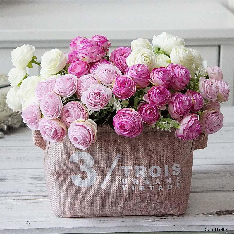 10 cabezales Mil capas de camelia pequeño ramo de flores artificiales DIY hogar Navidad decoración de boda de seda Material de la pared de la flor1