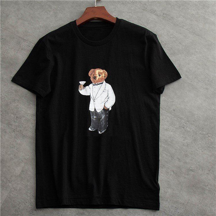 Ours en gros Polo américain T-shirt manches courtes en coton américain T-shirt homme taille EU UK Polo, T-shirt col rond avec motif ours