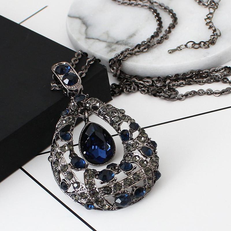 Мода капля воды Choker ожерелье для женщин леди длинное хрустальное свитер цепи ожерелье женские украшения ювелирные изделия1