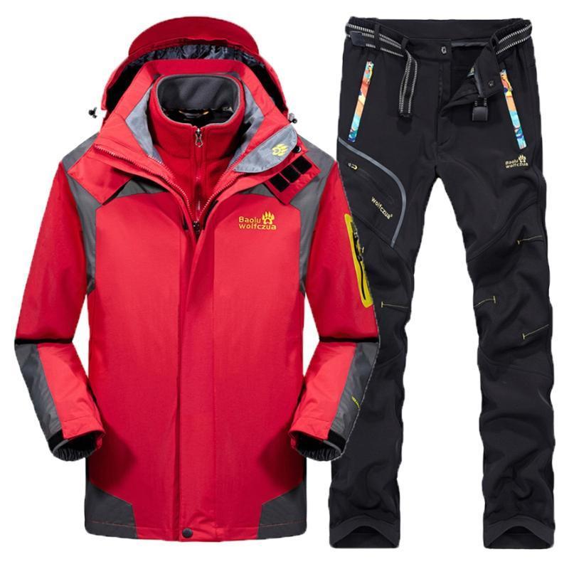 Set Homens Inverno Caminhadas jaqueta Pants térmica impermeável à prova de vento Brasão Caça Ski Suit Outdoor Sports Treino 3-1-in