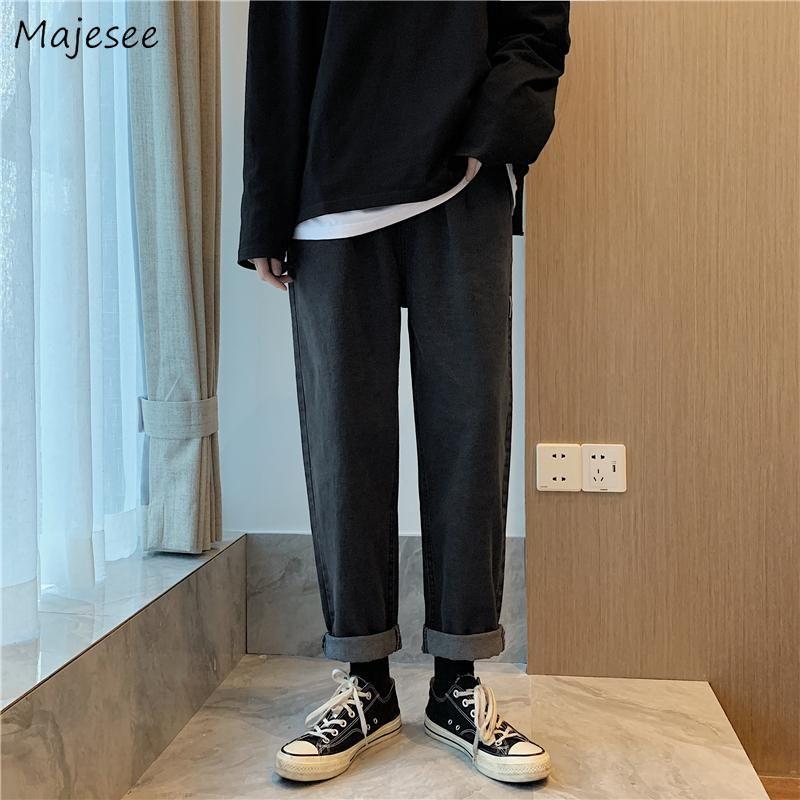 Jeans com cordão elástico cintura solta machos sólidos Baggy Cowboy Lazer Chic Harajuku moda Denim Punk Calças Moda de Nova