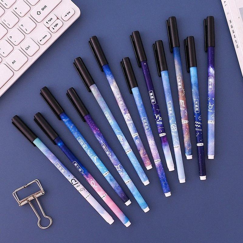 12 PC / el cielo estrellado de la constelación de gran cantidad de gel pluma linda de 0,5 mm de tinta negro Neutral Pen Papel de la escuela regalo Material de escritura Suministros ti9W #
