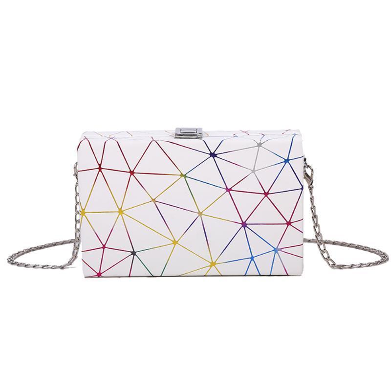 Cross Body Damen Messenger Bag Rechteckige PU Lederkette Rhombic 2021 Einfache Mode Schulter Handtasche oder Mädchen Geldbörse