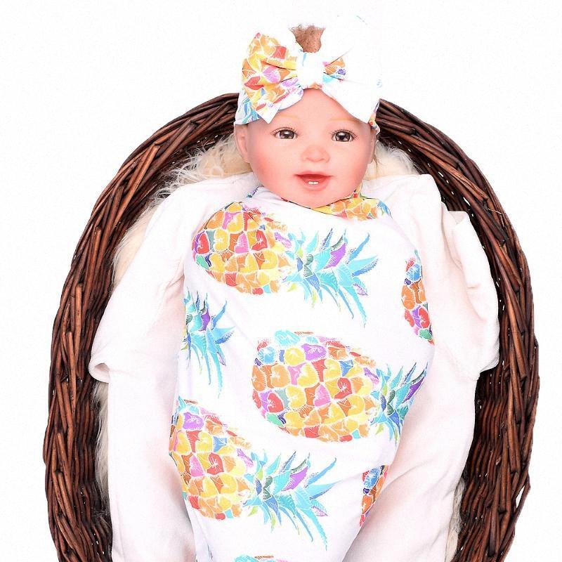 Enfant nouveau-né bébé fille garçon floral imprimé enveloppage swaddddle couverture bowknot bandeau de vêtement ensemble 501s #