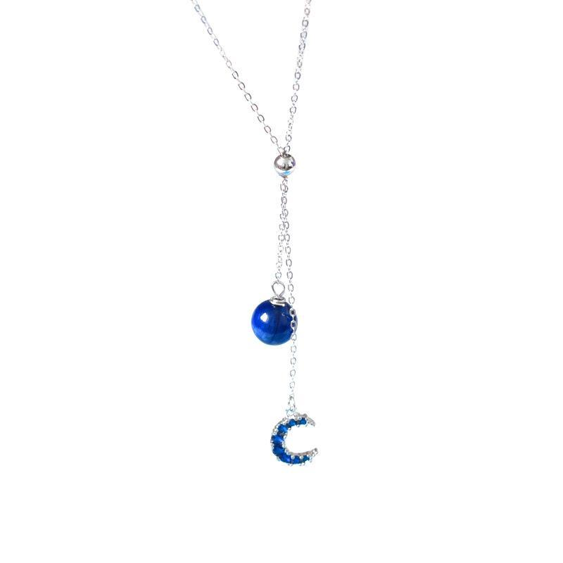 S925 sterling silver blue gold stone moon ladies necklace fashion temperament wild clavicle chain necklace 11-0018+13