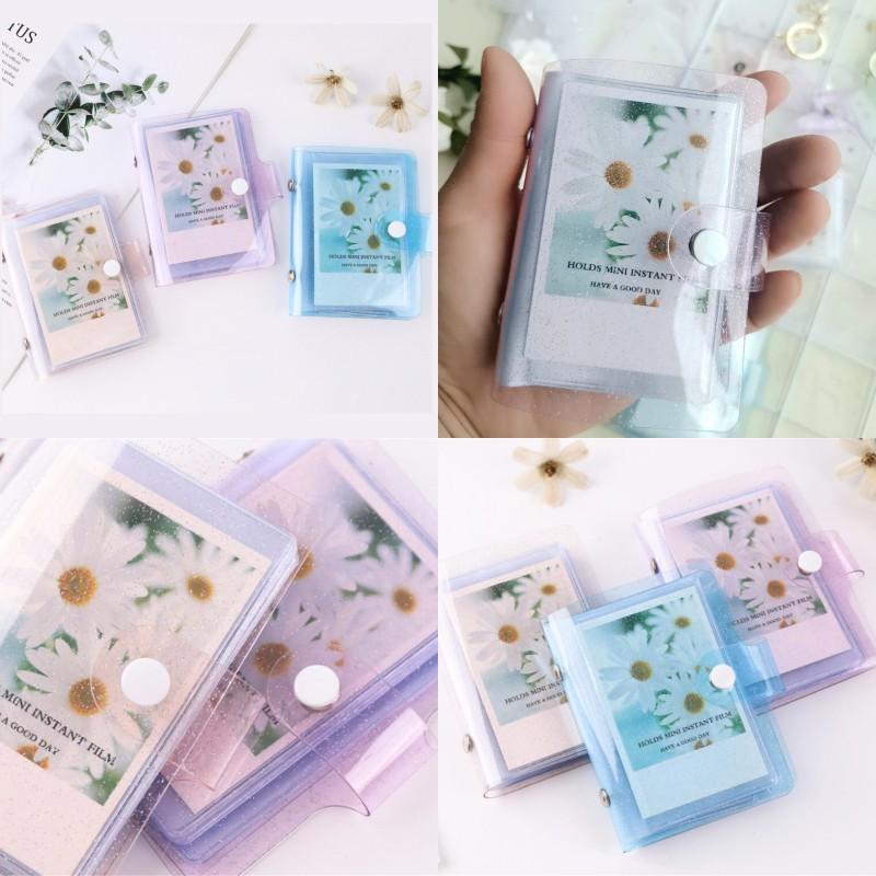 Álbum de fotos de color de jalea para mini tarjeta Pegatina Pegatina Album Fotos Instax Album Transparent Glitter Holder 247 N2