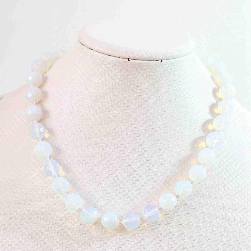 Cadena Figaro blanca Moonstone Oplite 8 mm 10 mm 12 mm 14 mm 16 mm tallado alrededor de los granos DIY de las mujeres Cadenas collar 18inch B645