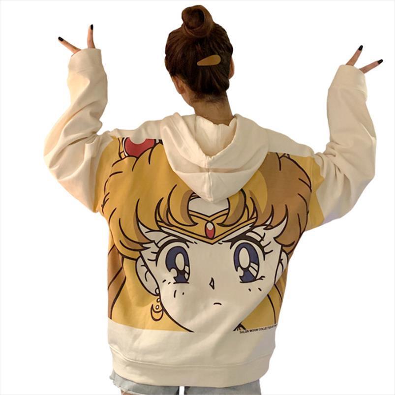 Streetwear camiseta de Harajuku Sailor Moon impresión de la historieta con capucha de las mujeres ocasionales flojas largo lindo del bolsillo de la manga del suéter Tops Ropa