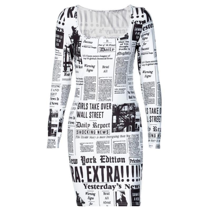Delle donne Moda manica lunga Giornali Dress Dress Abiti eleganti per l'abbigliamento quotidiano del partito 2020 Nuovo caldo