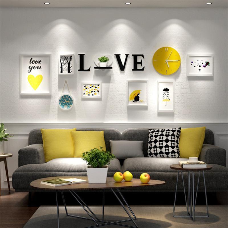 Marco Blanco Inicio clásico decoración de la pared Foto + AMOR + Carta del reloj hecho a mano de madera Portarretratos Conjunto marcos para cuadros Moldura