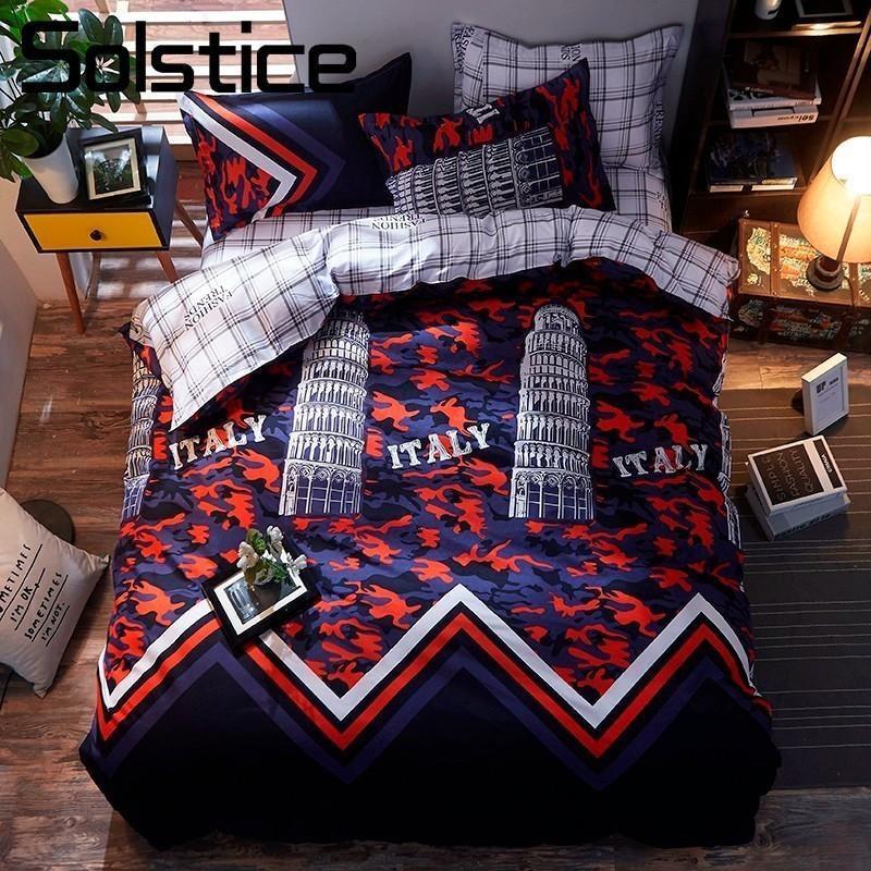 Solstice Home Textil Junge Kind Bettwäsche Sets 3/4 stücke Teen Erwachsene Pisa Building Bettwäsche Kissenbezug Blatt Bettbezug KÖNE KÖNIGEN KÖNIGIN TWIN