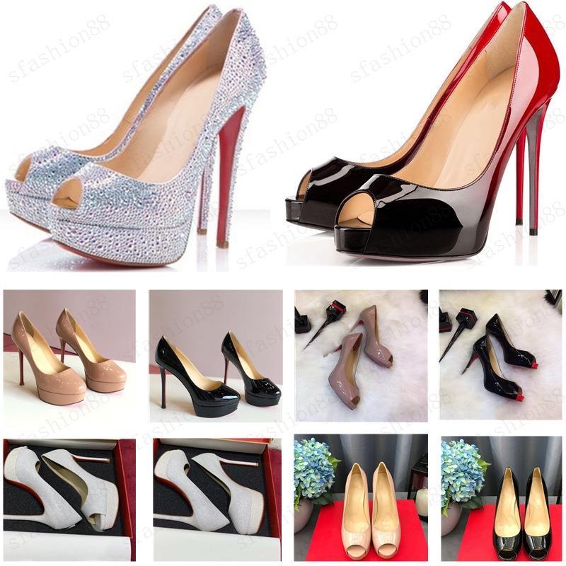 Hot Classic Lady Rojo Tacones altos Tacones Altos Plataforma Zapatillas Zapatos Desnudo / Negro Patente de Patente Peep-Toe Mujer Vestido Sandalias de Boda Sandalias Zapatos 34-45