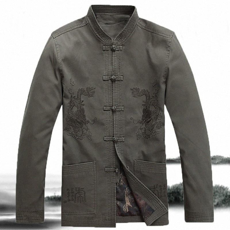 hommes veste dragon dragon chinois hommes chemise aile vestes chinois chun col mao vêtements costume TA277 T9OZ #