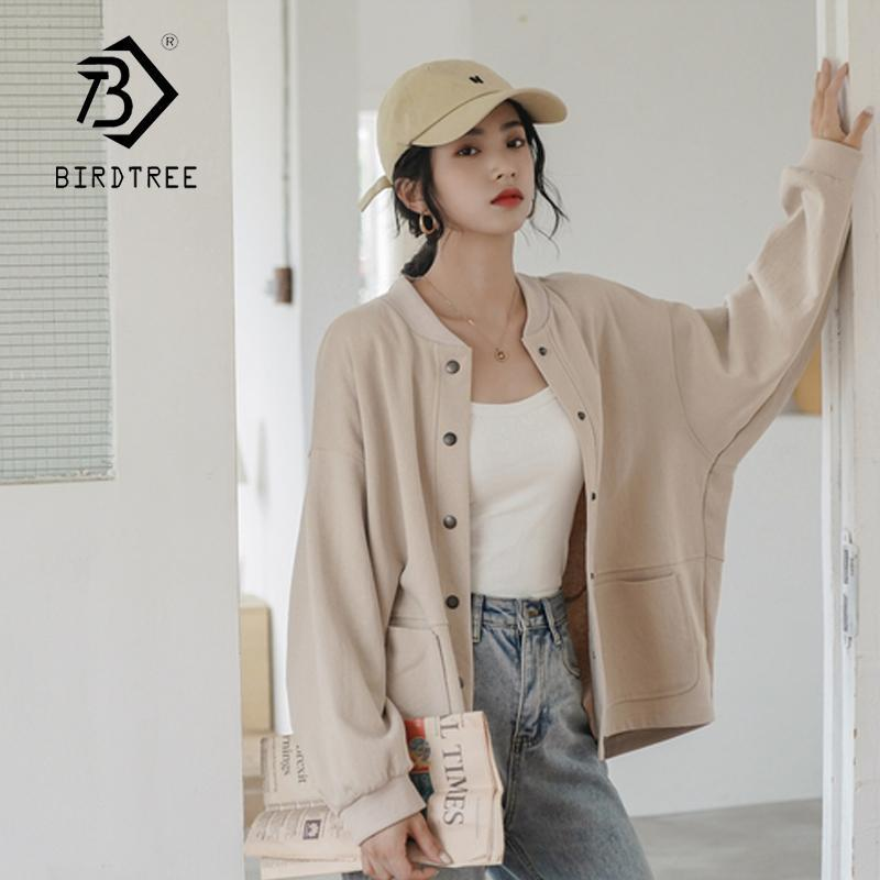Women Casual Loose O Neck Long Sleeve Sweatshirt Baseball Button Solid Jacket Coat 2020 Spring New C01808M