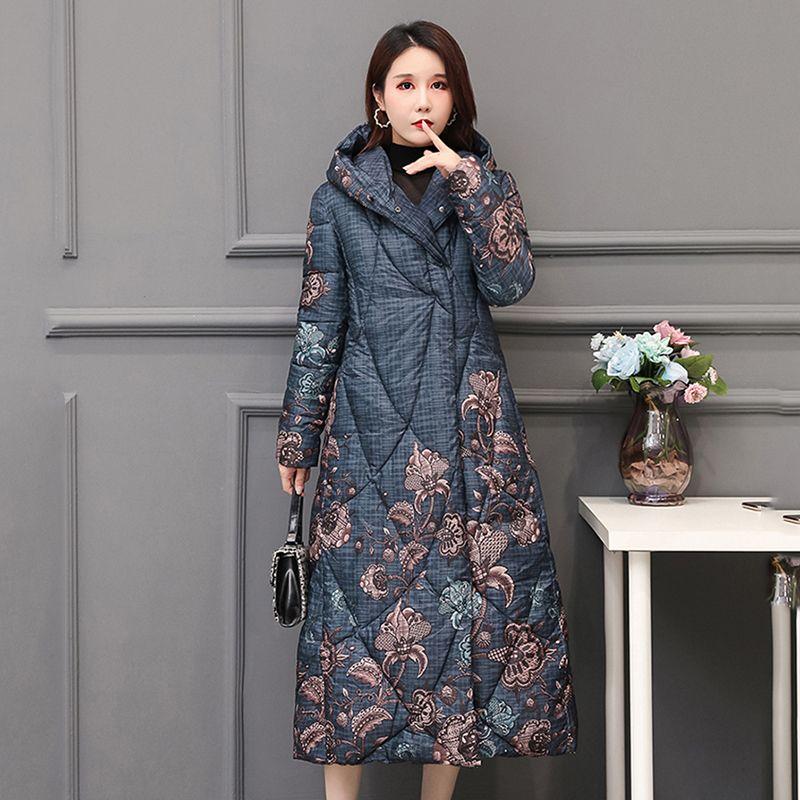 de las mujeres del estilo chino invierno por la chaqueta X-larga Tamaño impresión Plus grueso encapuchado Outwear suelta el botón cubierto Escudo Mujer Fría