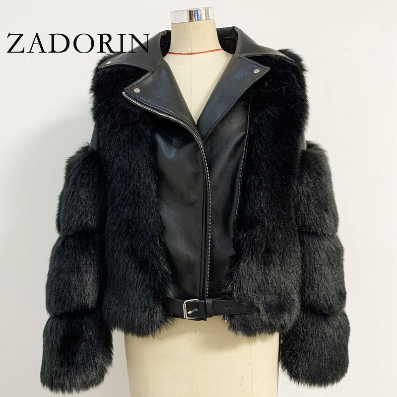 Top Coat Moda Fox lujo PU de la motocicleta del cuero gira el collar abajo chaqueta caliente Zadorin piel de imitación de las mujeres 2020 Invierno Nueva