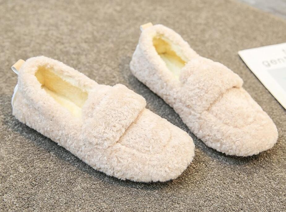 European and American slipper fashion maomao shoes women in winter wear Korean version of lamb hair a foot flat loafers plus velvet cotton