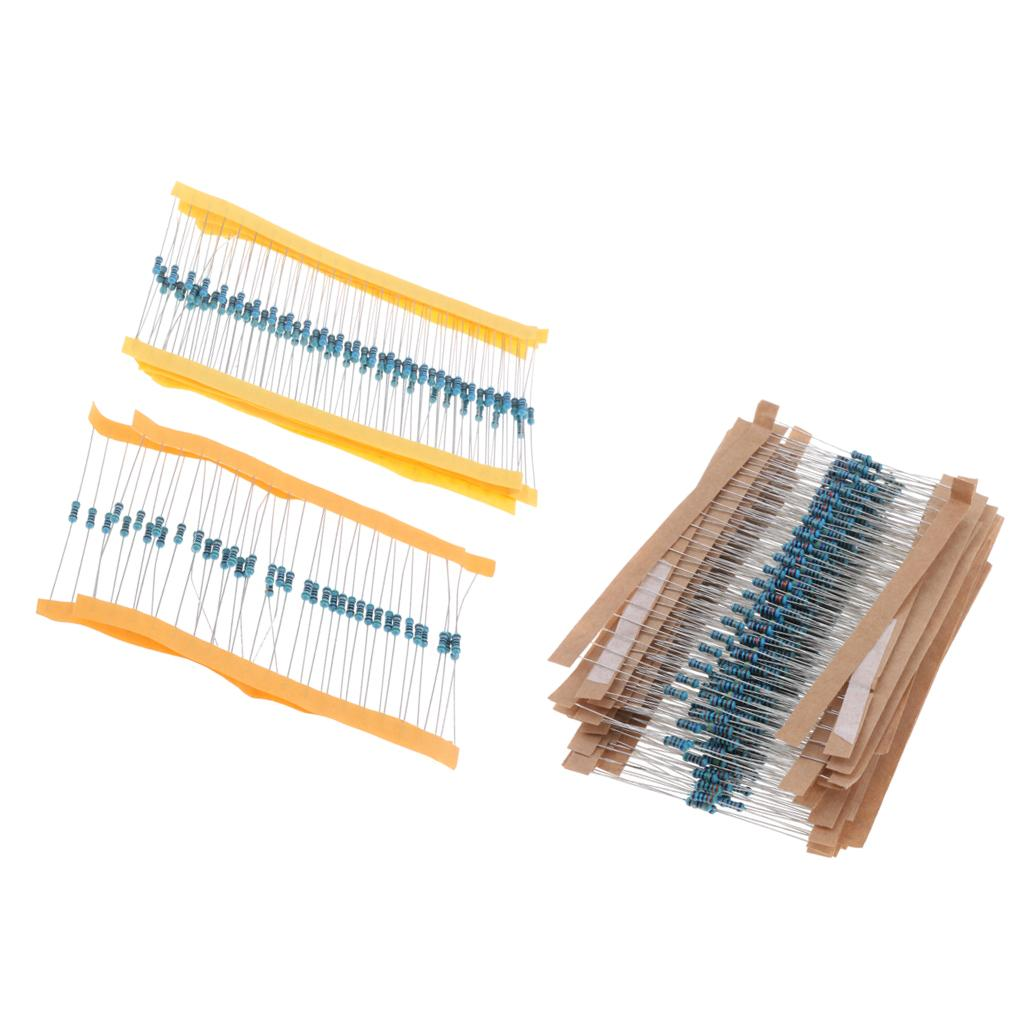 600pcs 30 Valeurs 1 / 4W 10R-1M 1% Metal Film Resistor Assortiment Kit Diy Kit