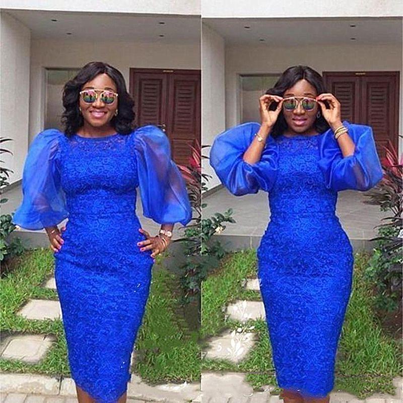 Kraliyet Mavi Diz Boyu Kısa Anne Gelin Elbise Artı Boyutu Kabarık Kollu Kraliyet Mavi Dantel Örgün Akşam Balo Düğün Parti Abiye
