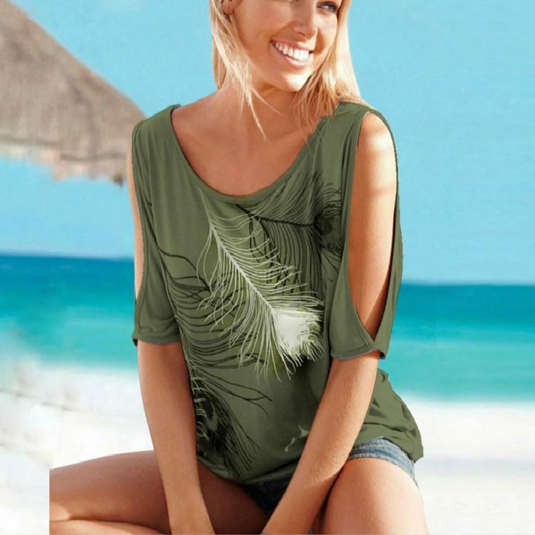 À manches courtes Casual Tops T-shirts sexy Off épaule plume Imprimer O-cou pour les femmes desserrées Chemises SizeXL