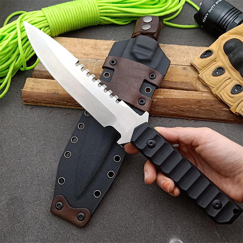 Special Offer High Quality Survival Straight Knife DC53 Drop Point Satin Blade Full Tang G10 Handle Knives With Kydex
