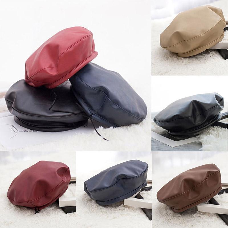 Kadınlar Sıcak Moda Bereliler Katı Hat PU Deri Bere Fransız Sanatçı Bayanlar Sonbahar Kış Sıcak Beanie Retro Bonnet Şapka Cap Caps