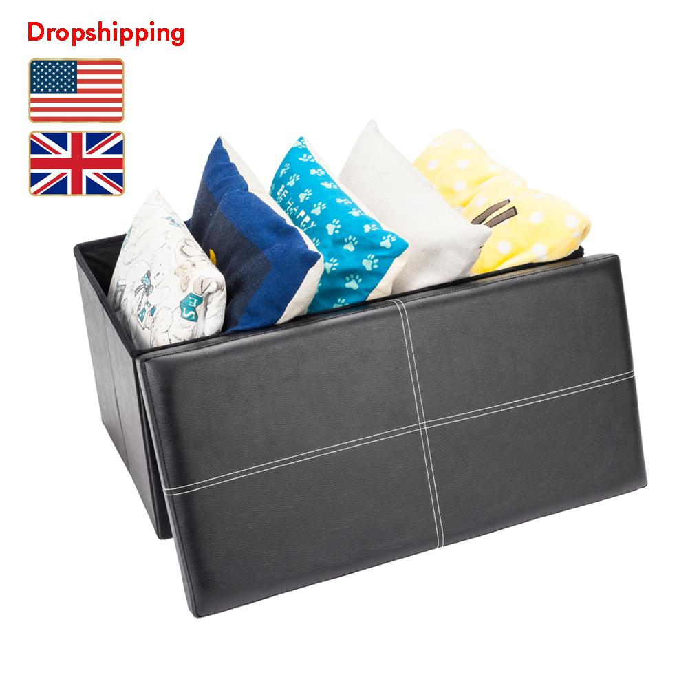 Stock in US UK Foldable Ottoman PVC Leather Foot Rest Stools Footstool with Storage Rectangle Black Dropshipping