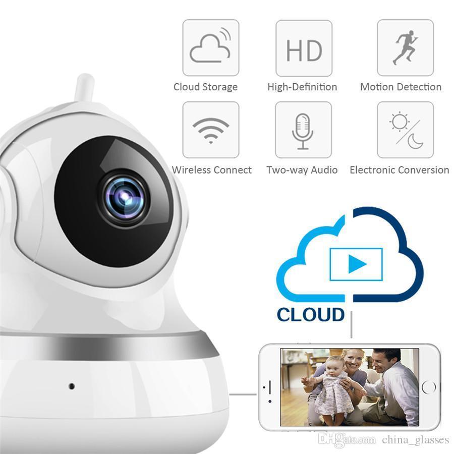 1 قطع كاميرا مراقبة لاسلكية 360 درجة الدورية تهز رئيس ذكي سحابة التخزين wifi الأمن الأشعة تحت الحمراء للرؤية الليلية