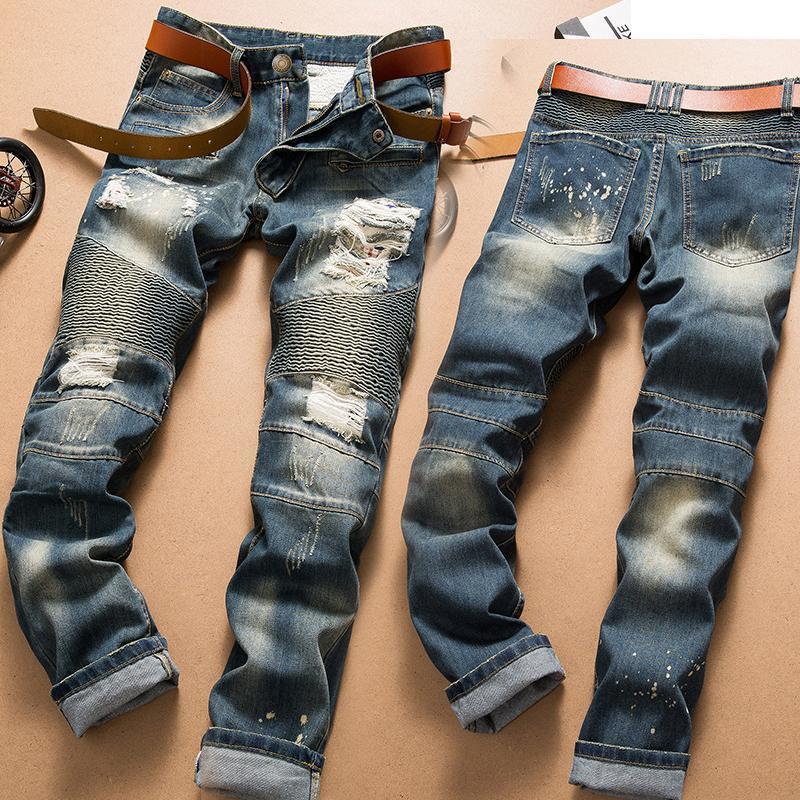 Hombre Pantalones Diseño Fresco Hombres Pantalones Hip Hop Largos Hombres Retro Rompeado Caballero Skinny Jeans Denim Personalidad