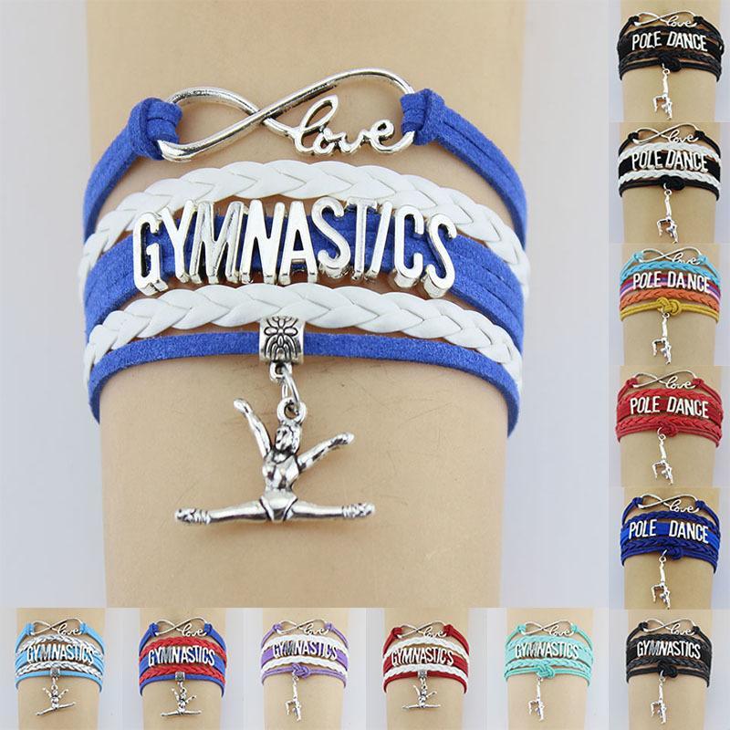 Gymnastik Pole Tanzsport Liebe antikes Silber überzogene Charme-Armbänder Frauen Männer Mädchen Jungen Schmuck Geschenk Styles