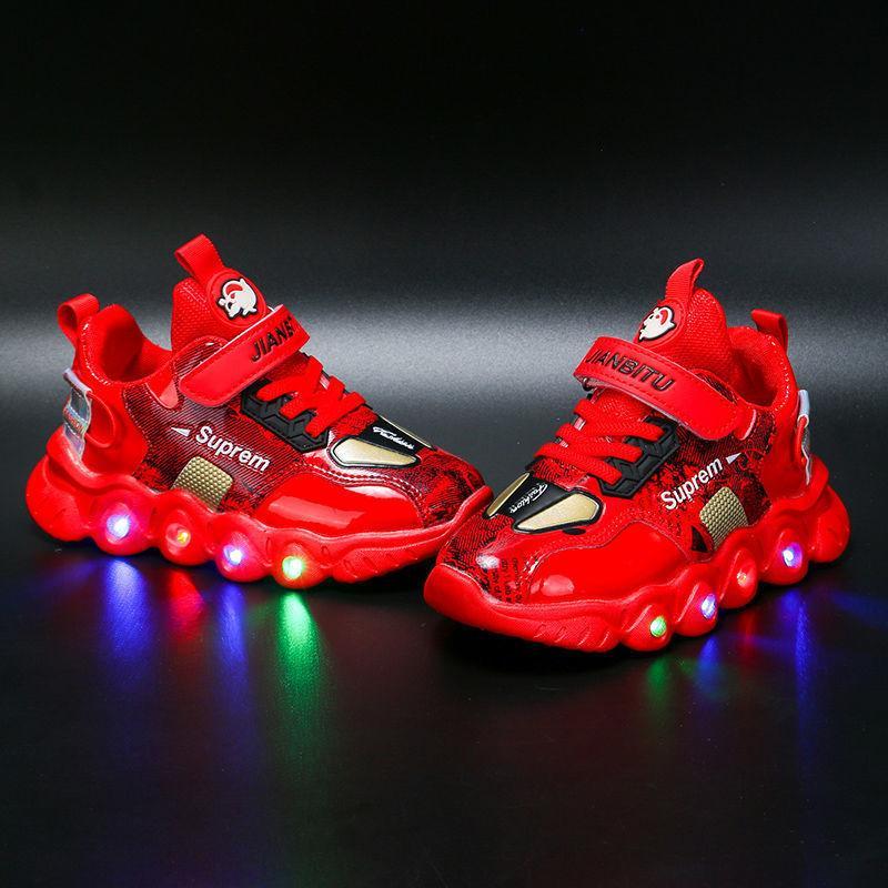 Led Işık Sneakers Koyu Sarı Kış Pamuk Ucuz Ayakkabı Çocuk Glow Koşu