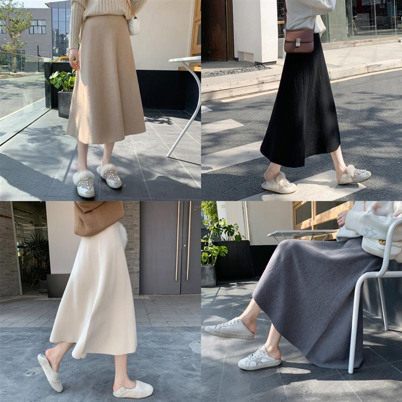 DIXRh New Black flower long casual Crotch Cover embroidered Slimming skirt Knitting ladies elegant high waist wool denim skirt mini Skirt