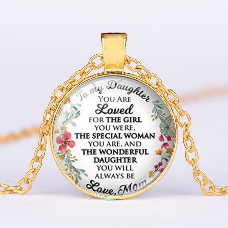 ein Brief an meine Tochter Halskette von Dad Mom Sie immer geliebter Inspiring Wörter Kristallgeschenke Silber überzogene Ketten