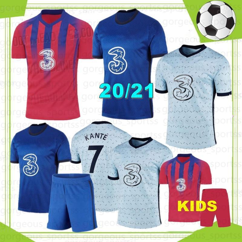 Kante 20 21 Jerseys de futebol pulisic werner ziyech 2021 2022 Marcos A. Camisa de futebol Away Abraham Chiilwell Mens Kit Kids Kit
