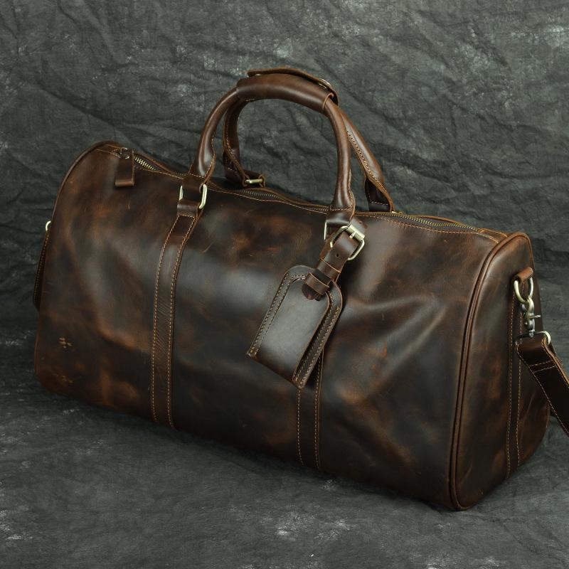 Duffle Pure Men's Natural Сумасшедшие сумки ручной работы Роскошные кожаные сумки Лошадь путешествия MDPWL
