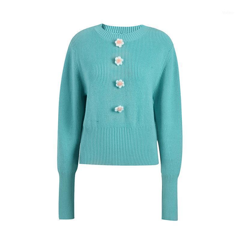 Женские вязаные тройники 2021 осень зима милый 3d цветок свитер темперамент элегантный сладкий пуловер женщины нежный с длинным рукавом вязаный джемпер1