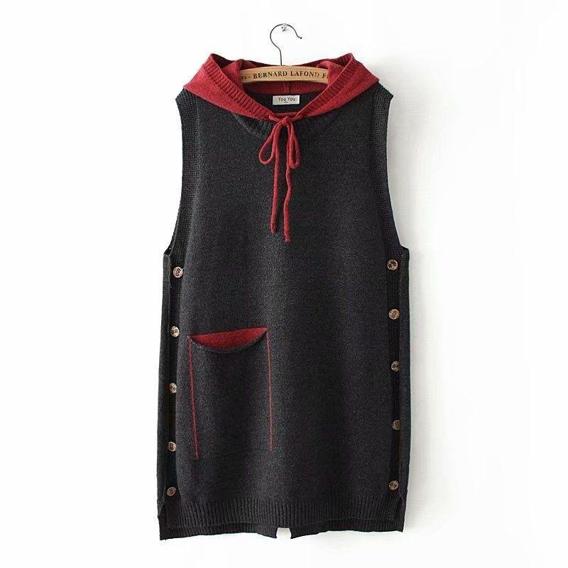 Autumn bolso Botão Casual Quente malha Vest Mulheres da camisola do inverno com capuz solto Colete sem mangas Jacket Casacos 4XL 201110
