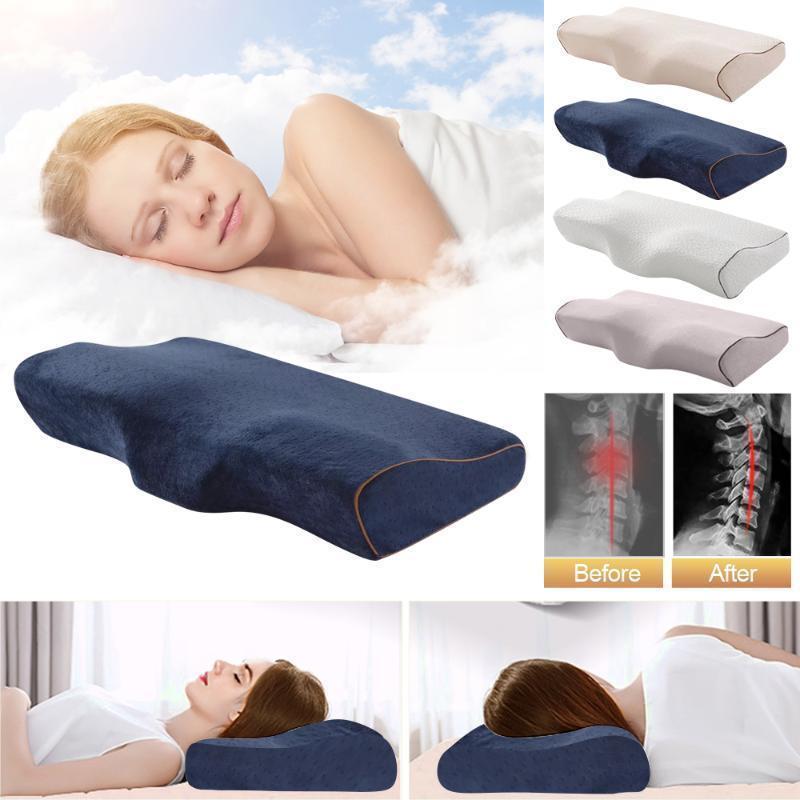 Memory espuma travesseiro borboleta em forma de cama de cama relaxe Proteção de pescoço Ortopédico retardo lento Cervico para cuidados de saúde 50x30cm.1