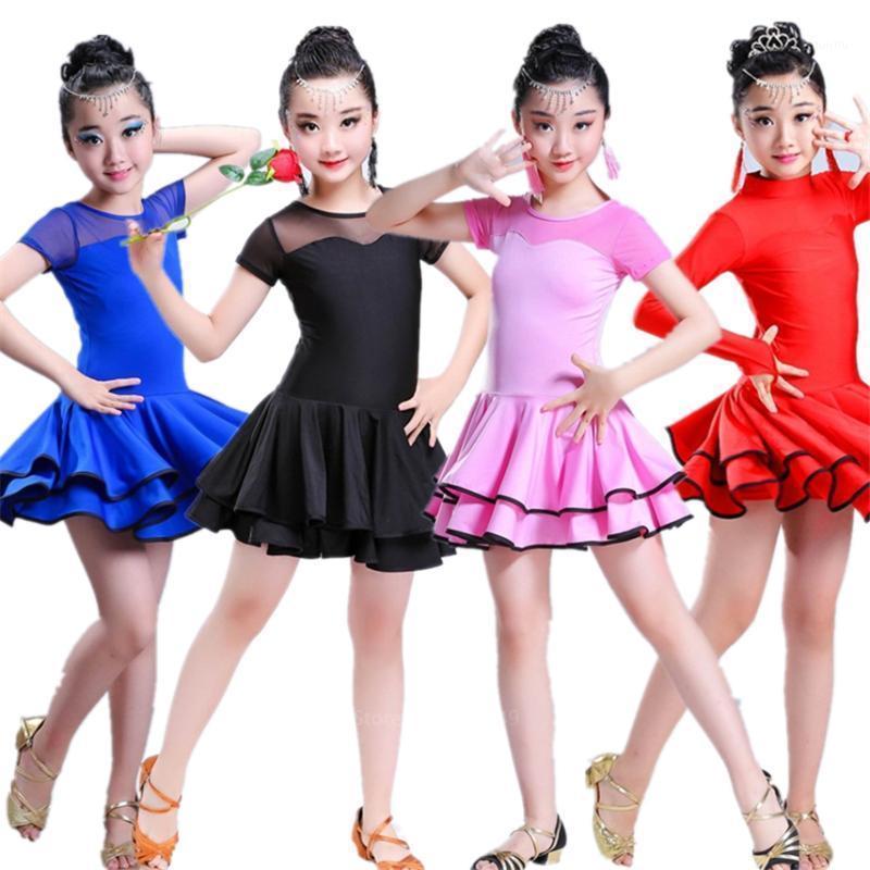 Sahne Giyim Dans Elbiseleri Çocuklar Için Salsa Tango Tutu Etekler Çocuk Latin Dans Elbise Kız Kısa / Tam Kollu Vestidos Kostüm1