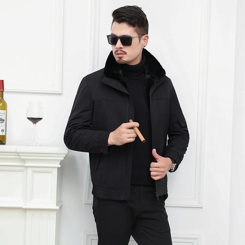 Nick terno meio envelhecido envelhecido rex peles na bexiga peles de lapela de bexiga e um estilo supera espessura do casaco masculino