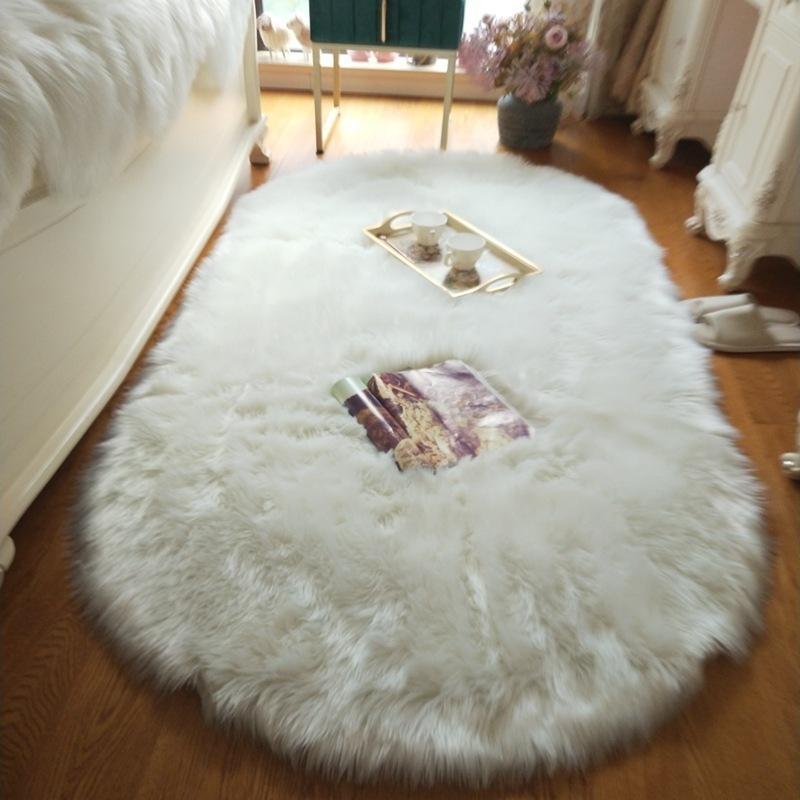 Овальный мягкий пушистый из искусственной овчины меховые ковры белый искусственный меховой тур тумбочка Rugnordic красный центр гостиной ковров спальня пол lej201128