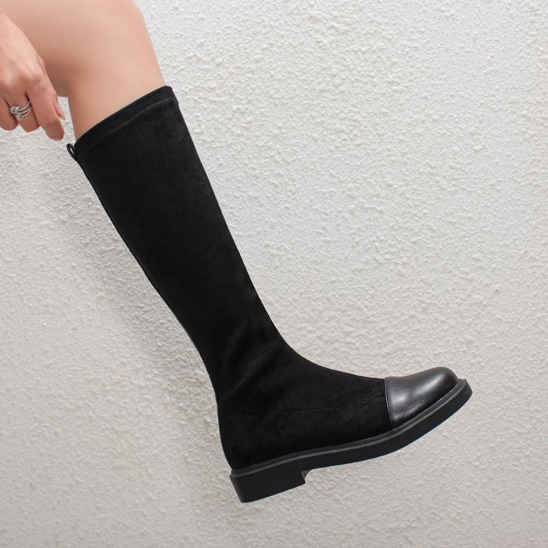 YMECHIC 2021 Nouveau genou haut Bottes d'équitation Kaki Noir extensible Chunky talons femmes Chevalier long Bottes Botas Femme Chaussures Hiver 43