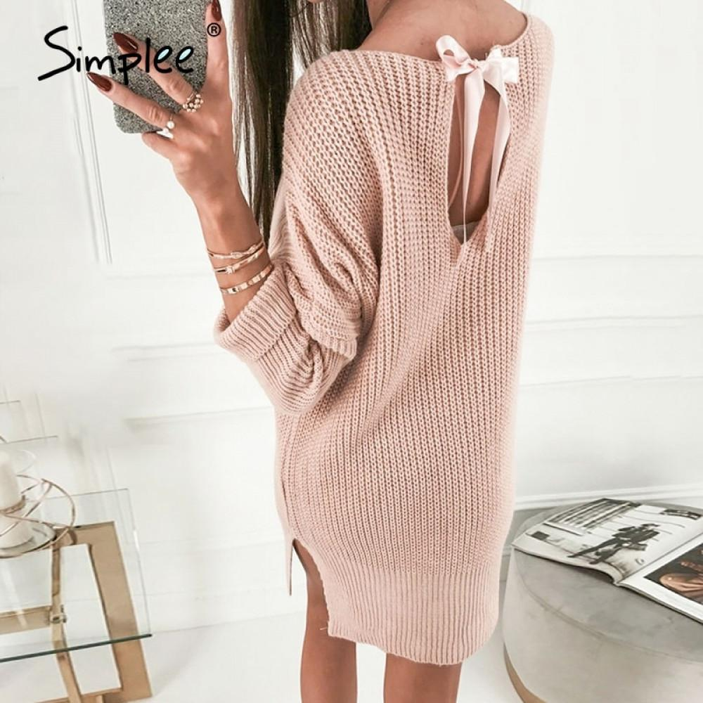 Simplee robe rose fente d'hiver Tricoté femmes oversize robes courtes en tricot robe dos nu Robes sexy femme 201023