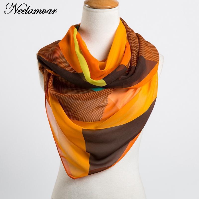 nouveau géométrique châle mince de mousseline mode 2020 de printemps des femmes dans le bufanda de la fille de la femme automne et en été
