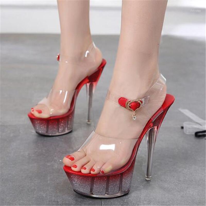 Сандалиас женские сандалии женские насосы мода ПВХ пряжка 14 см тонкие высокие каблуки открытый водонепроницаемый платформа вечеринка женская обувь1