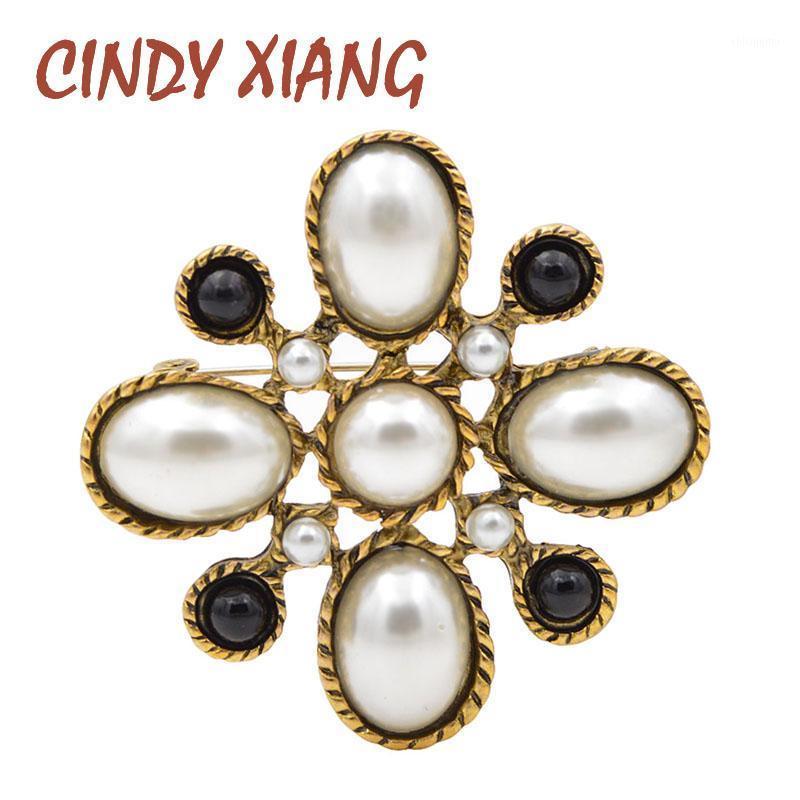 Cindy Xiang Yeni Varış Kadınlar Için Simüle-Inci Çapraz Broşlar Vintage Barok Pins Düğün Buket Broş Moda Jewelry1